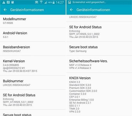 Android 5 e 5.0.1, 5.0.2: Samsung Galaxy