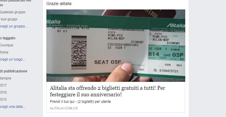 Biglietti gratis aerei Alitalia, Klm, Em