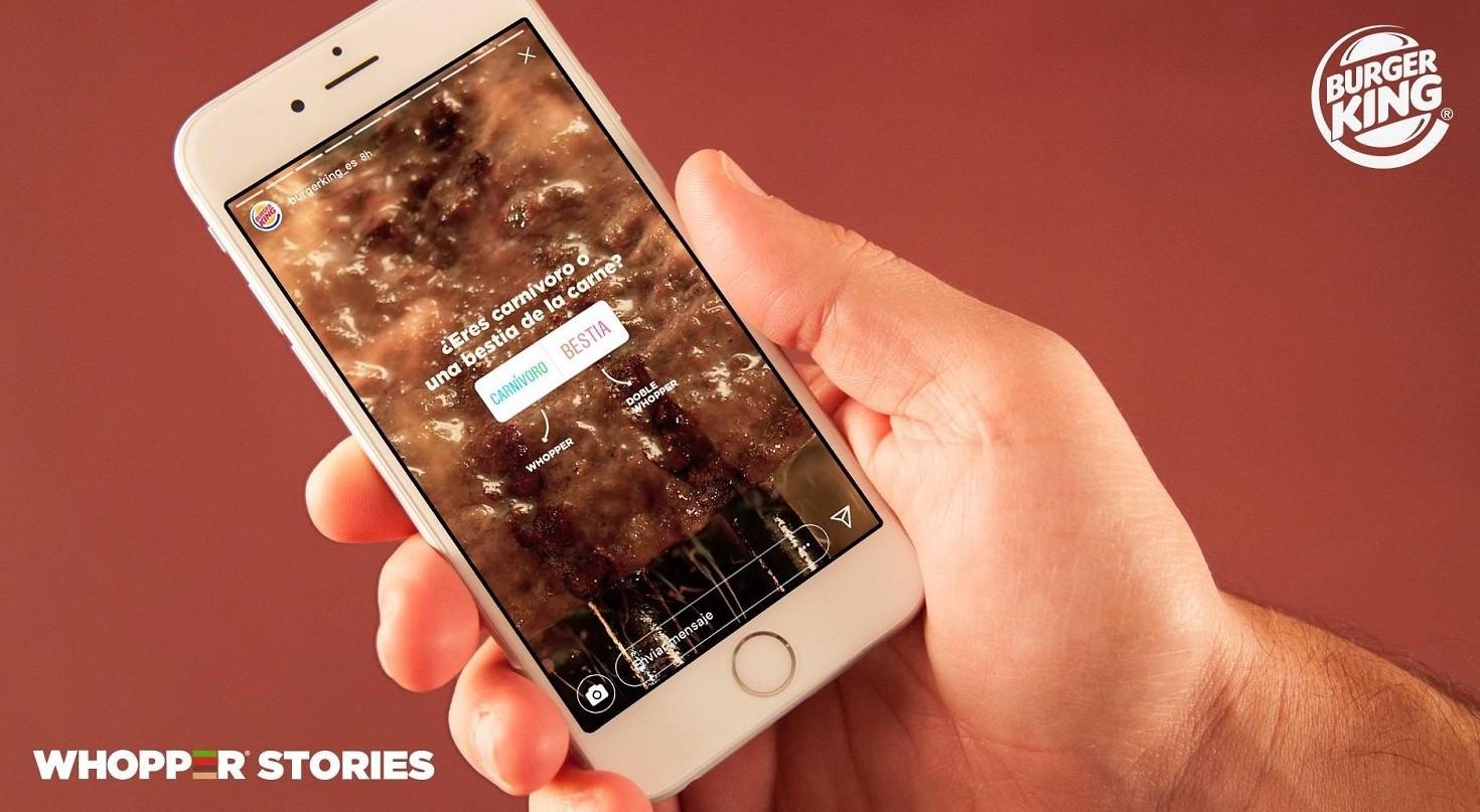 Burger King, Instagram Stories. Successo