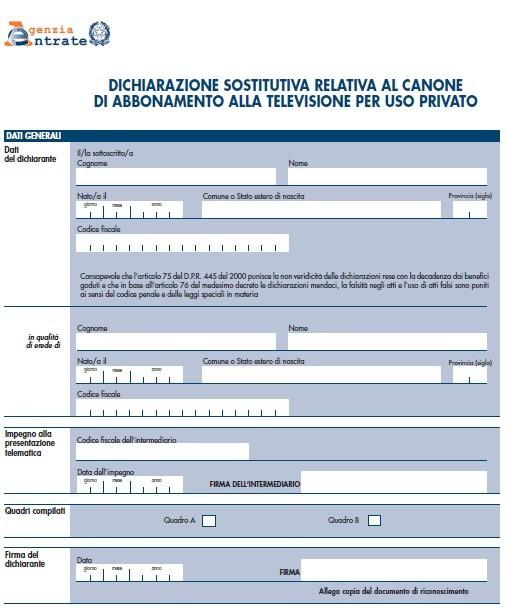 Canone Rai 2016: autocertificazione, com