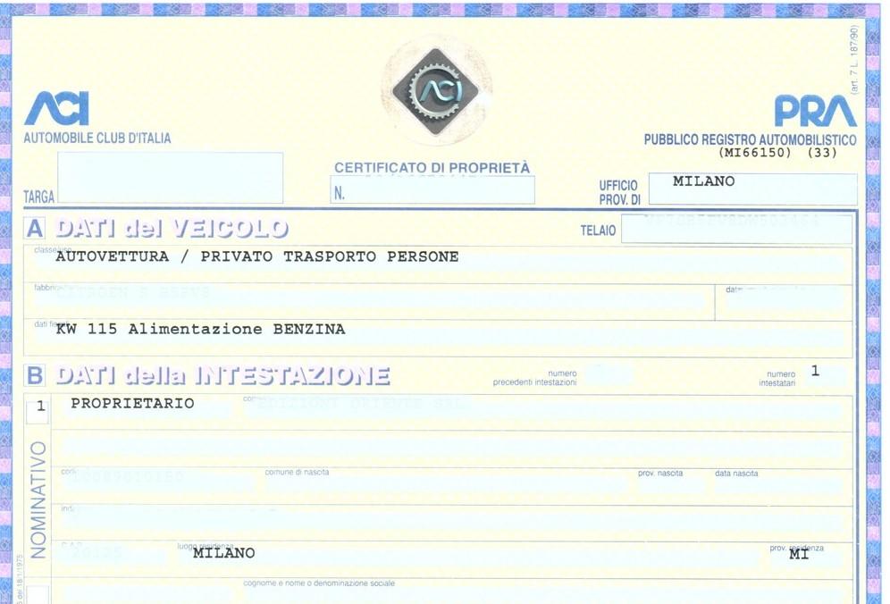 Certificato auto di proprietà costi, rin