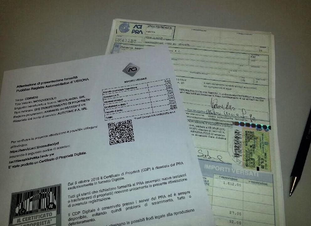 Certificato auto di propriet� digitale o