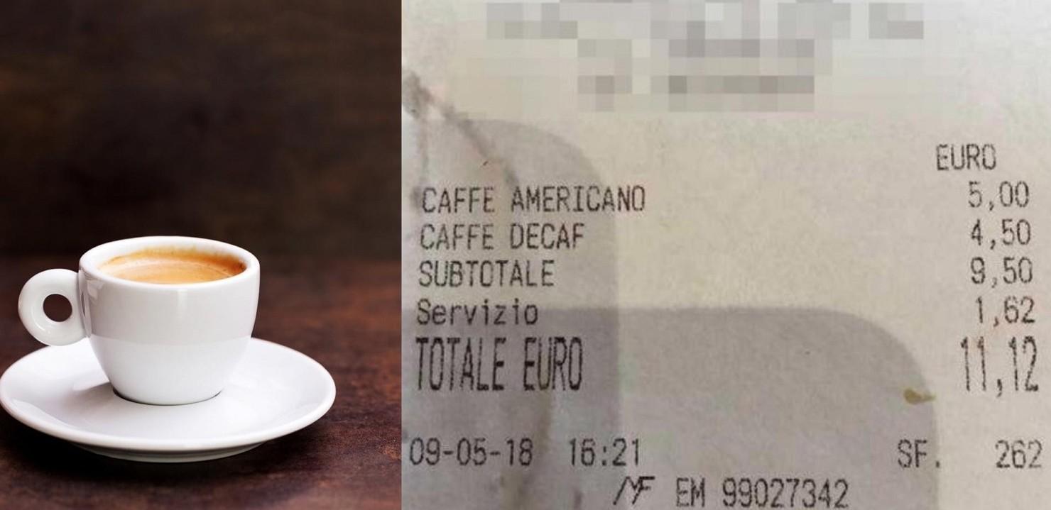 11,62 due caffè a Roma in centro, non su