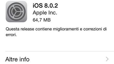 iOS 8 e 8.0.2 iPhone 5, iPhone 4S, iPhon