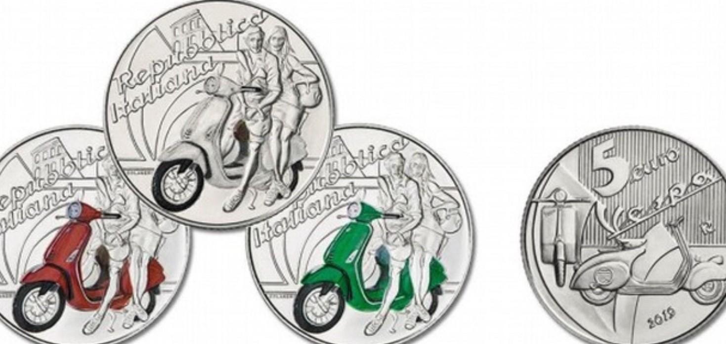 Monete da 5 euro colorate disponibili in