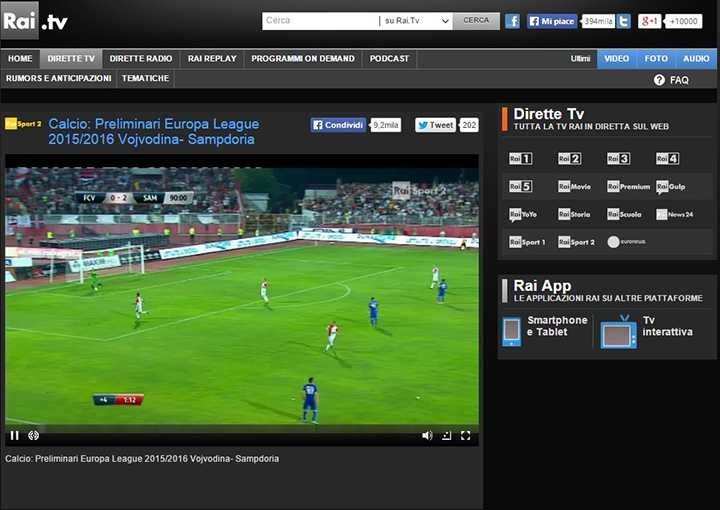 Partite streaming  Napoli Benfica Rojadi