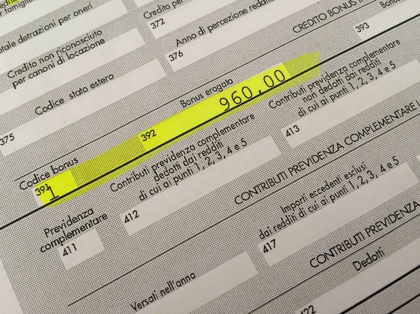 Reddito annuo lordo complessivo cud (CU)