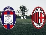 Crotone Milan streaming siti web diretta live gratis