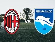 Milan Pescara streaming gratis per vedere link, canali tv, siti web