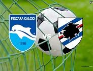 Pescara Sampdoria streaming gratis live link, siti web. Dove vedere